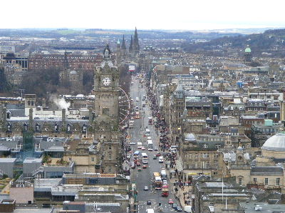 View along Princes Street from the Nelson Monument