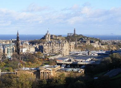 View to Princes Street and Calton Hill, Edinburgh