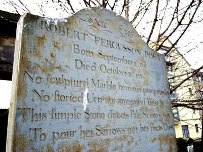 Robert Fergusson's gravestone at Canongate Kirkyard, Edinburgh